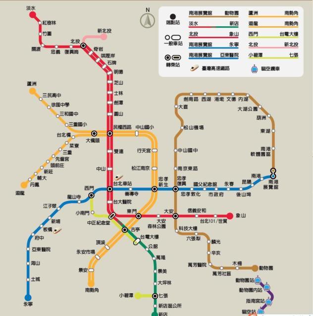 哪位有台北捷运的高清线路图?