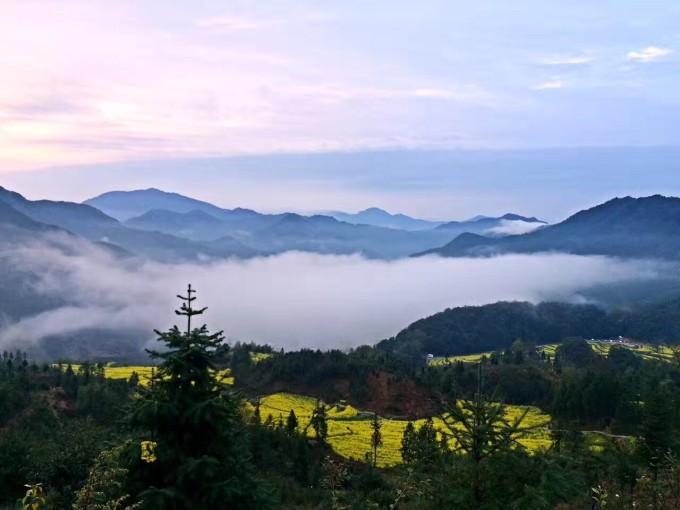 四个村庄,四周围绕着青山,构成了一副极美的婺源农村风光画卷.
