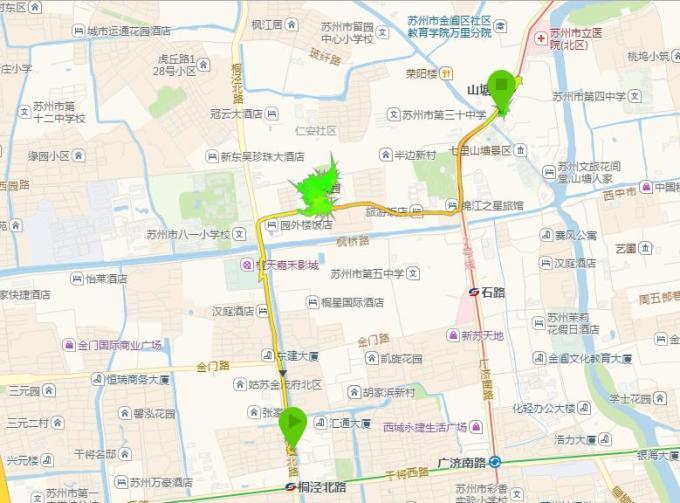 (4)从虎丘风景区(北)到苏州留园的自驾车路线: 312国道向东右转虎阜